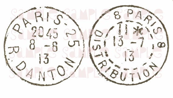 Paris Cancellation Stamps, French Instant Digital Download,  FrA028