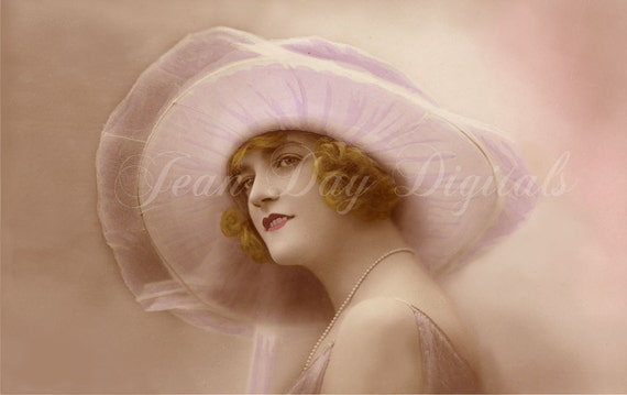 Lady Jeanne in Lilacs and Pearls, Art Deco Chapeau,- French Postcard- Instant Download - FrA068
