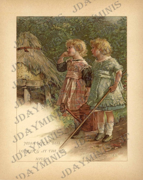 Jessie and Bess Looking at the Bee-Hives, Image Scan, late 1800's, Instant Digital Download DB031