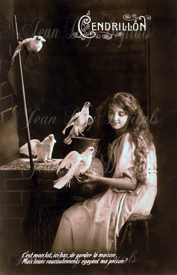 Cinderella or Cendrillon 1918 with doves, gift tag - French Postcard -Instant Digital Download FrA094