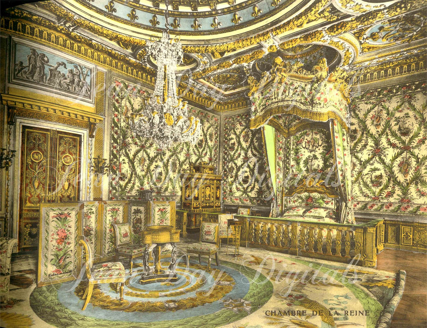 chambre de marie antoinette from fontainebleau french photo