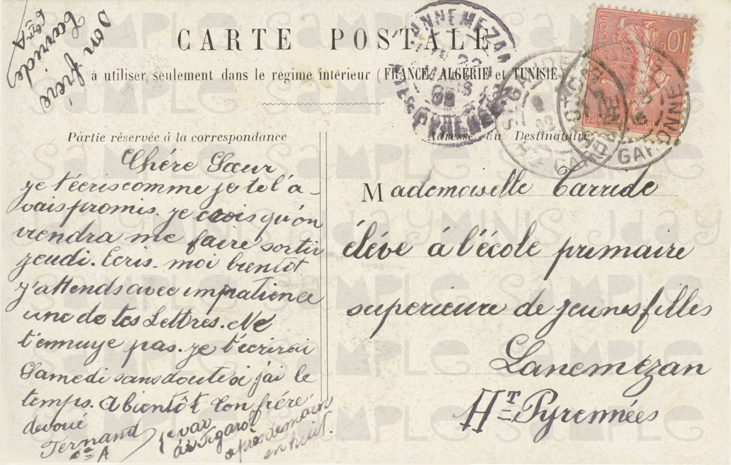 French Script To A Young Girl At A Girl 39 S School In The