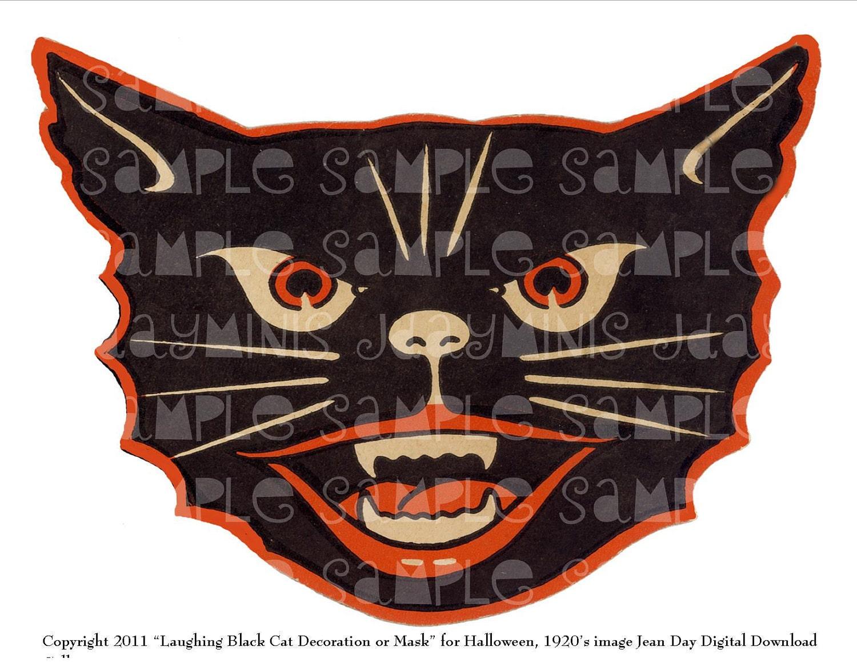 Halloween Mask Instant Digital Download Laughing Black Cat