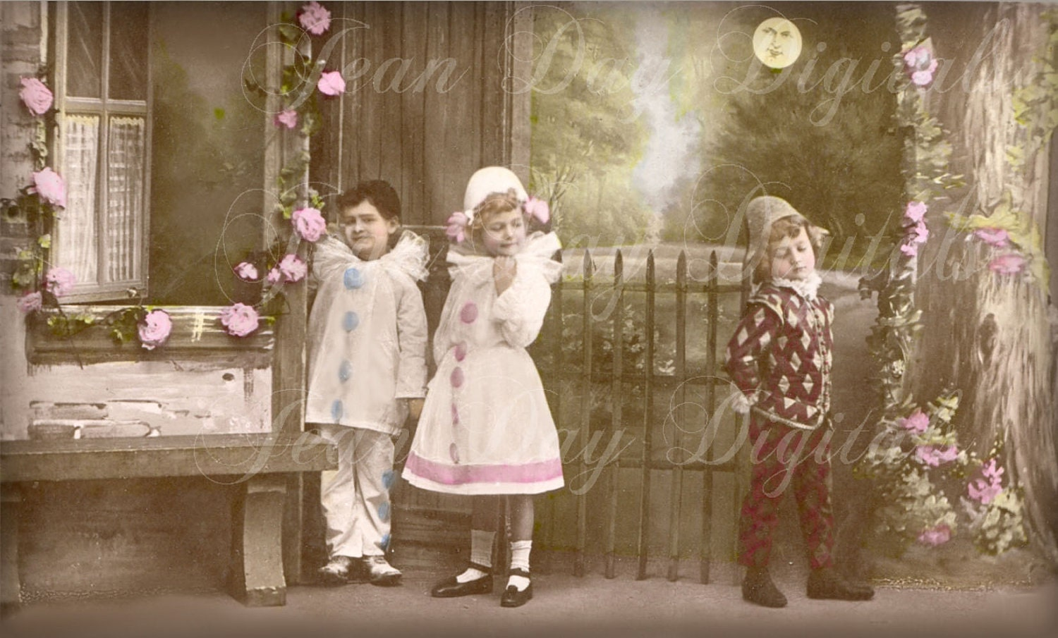 Halloween Carnival Costumes, Pierrot, Columbine And Harlequin Instant  Digital Download  French Postcard Scan