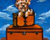 Yorkie painting on vintage Louis Vuitton luggage Its a dogs LIfe studio