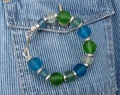 SALE ITEM Recycled Glass Bead and Sterling Silver Bangle Bracelet