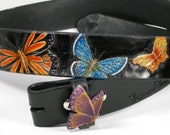 """Leather belt with butterflies hand carved, tooled and painted 1 1/2"""" black. Custom made."""