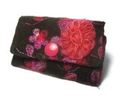 Cute Floral Business Card Holder - Brown Corduroy Fabric - Multiple ID Card Holder - Gift for Art Student