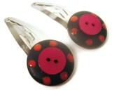 Hair Embellishments-Polka Dot Barrettes -Spring Trend Colors-Cabaret Pink, Tangerine Tango Orange