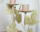 SALE** Pair of Shabby Chic Leafy Candle Holders