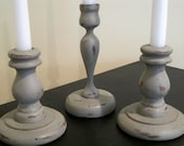 Set of 3 Shabby Chic Gray Wooden Candle Sticks