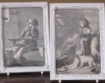 Pair of Shabby Chic Vintage Storybook Prints with Frames