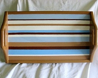 SALE** Brown Blue and White Wooden Hand Painted Striped Serving Tray