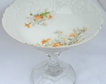 Floral China Bowl Pedestal