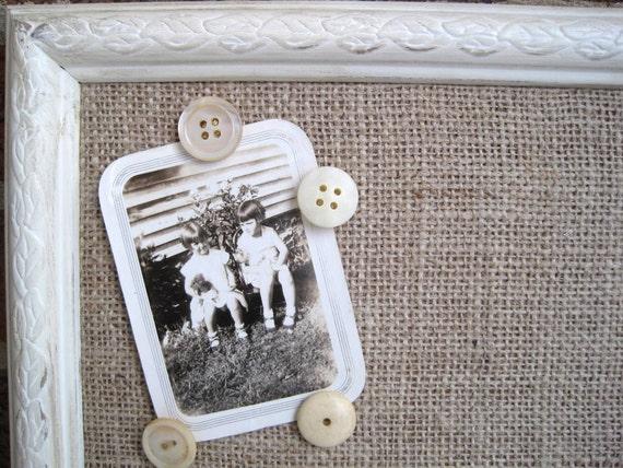 Shabby Chic Burlap Cork Board/Memo Board