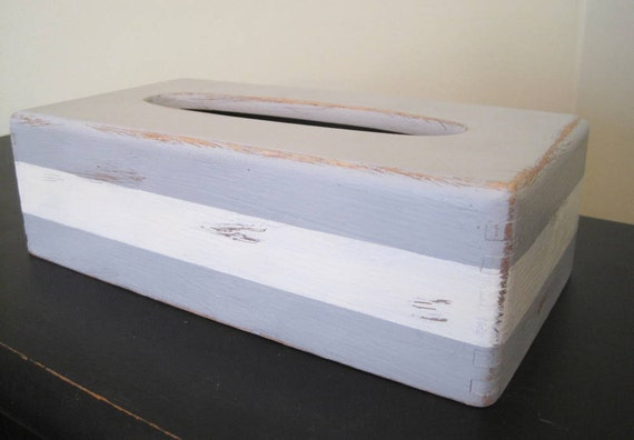 Shabby Chic Striped Wooden Tissue Box Cover