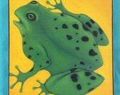 Colorful Frog Children Folk Art Wood Mounted Print of Painting by Tamara Adams