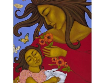 Mother And Child with Rabbit Folk Art Print of Painting by Tamara Adams