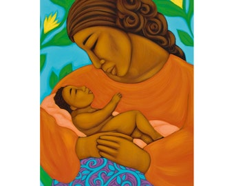 Mexican Mother & Baby Midwifery Folk Art Print of Painting by Tamara Adams