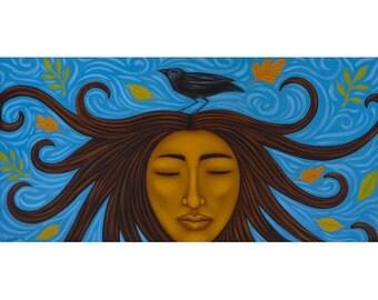 Woman Rising Mexican Goddess and Raven Folk Art Print of Painting by Tamara Adams