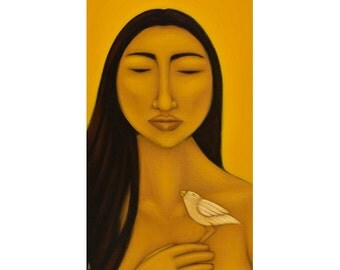 Spirit Guide Portrait Folk Art Print of Original Painting by Tamara Adams