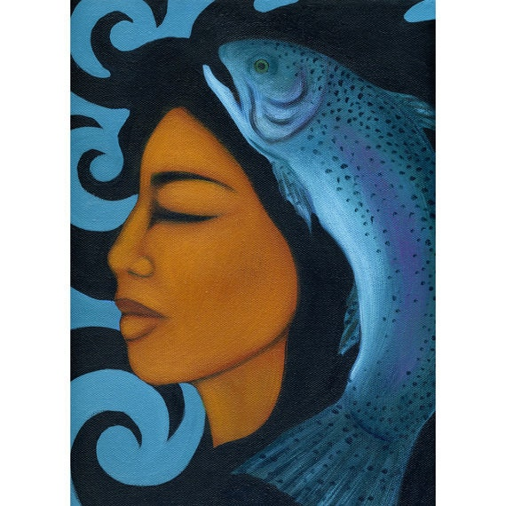 Rainbow Trout Goddess Portrait Art Print of Painting by Tamara Adams