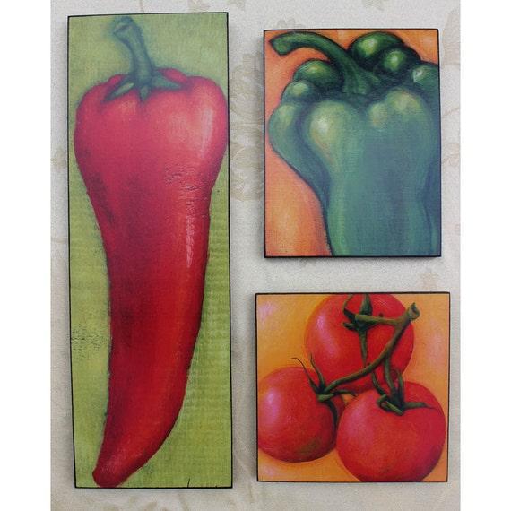Kitchen Folk Art: Items Similar To Fruit & Vegetable Grouping Kitchen Folk