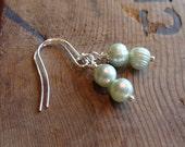 Mint Green Double Pearl Earrings