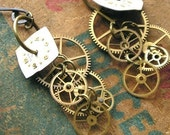 Steampunk Earrings - Gears and Years - Gears and Cogs - Dangly and Sexy