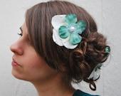 Teal flower hair clips - love Birds - Wedding Hair Clips, bridal accessory, Black friday etsy, cyber monday etsy,