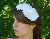 White Bridal Headband - Heaven Sent - wedding headpiece, bridal hair accessoy,