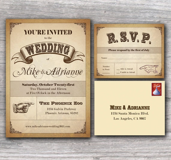 Cute Wedding Invitation Wording Samples: Items Similar To Western Poster Wedding Invitation Sample