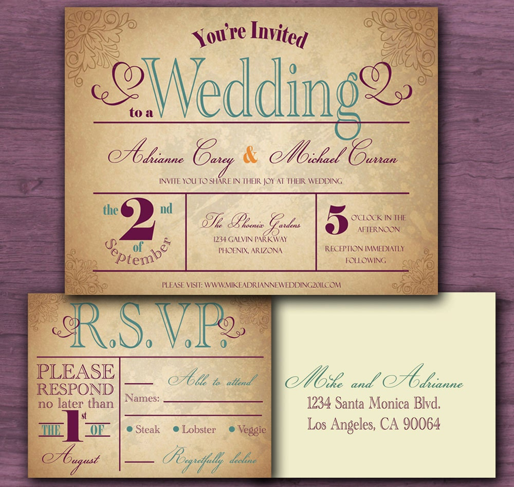 Free Sample Wedding Invites: Vintage Wedding Invitation Sample Set FREE By CottontailPress