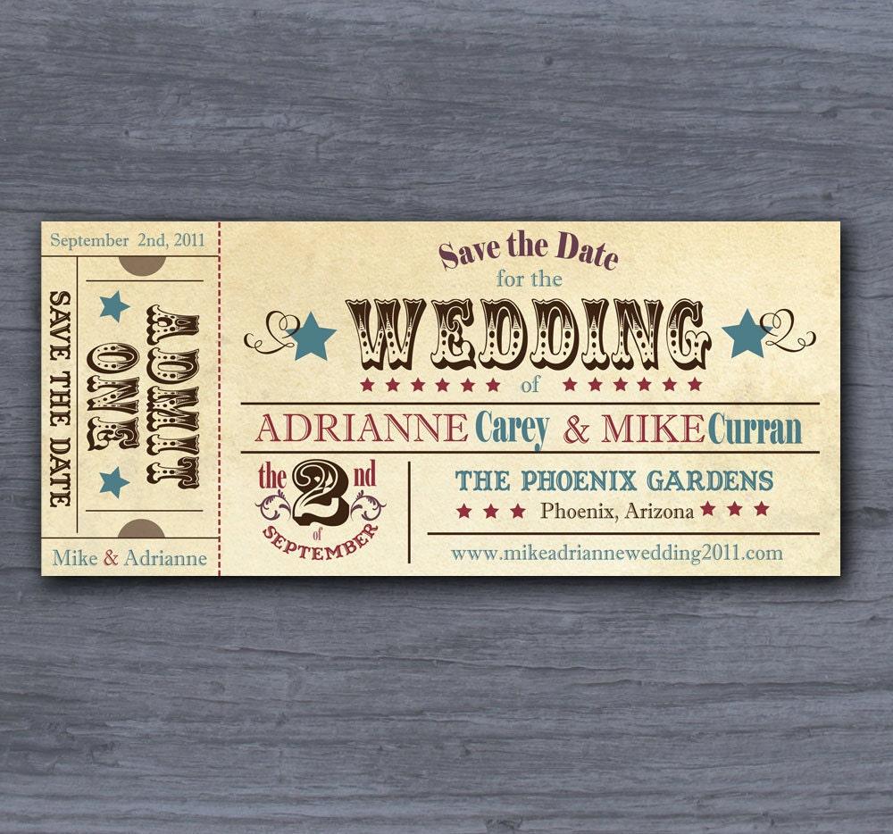 Wedding Invitation Tickets: Unavailable Listing On Etsy