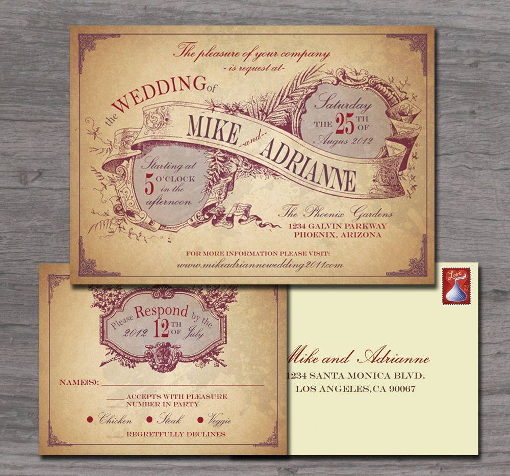 Country Wedding Invitation Wording: Rustic Country Wedding Invitation Sample Set By
