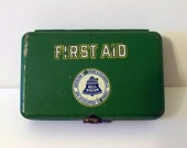 Vintage TELEPHONE Bell System First Aid Kit Tin FILLED \/ Advertising Drugstore or Bathroom Display