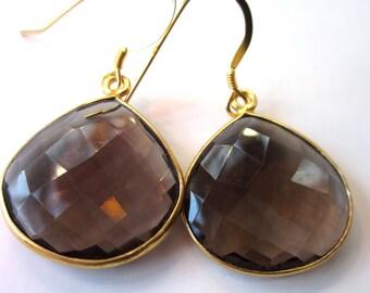 Smokey topaz gold bezel earrings