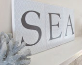 "Beach Sign- Sea Sign- A grouping of 3-8"" x 10"" Monogram Coastal Canvas Prints"