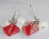 Red Earrings, Fan Shell Earrings, Scallop Seashell Earrings, Dangle & Drop Earrings, Chandelier Earrings