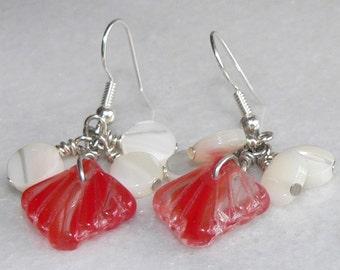 Red Earrings, Fan Shell Earrings, Scallop Seashell Earrings, Dangle & Drop Earrings, Chandelier Earrings