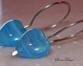 Blue Earrings, Glass Heart Earring, Silver Wire Earrings, Summer Accessory, Teen Earrings, Dangle & Drop Earrings, Handmade, Short Earrings