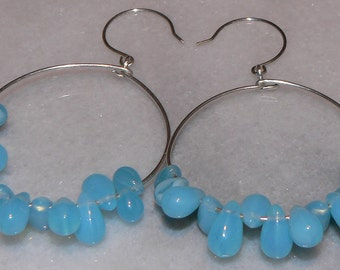 Baby Blue Glass Rain Drop Silver Wire Hoop Teardrop Earrings