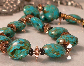 Turquoise Necklace, Mosaic Blue Magnesite, Swarovski Jewelry, Beaded Necklace, Statement Jewelry