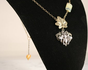 Bee Pendant Necklace Leaf Charm Brass Chain