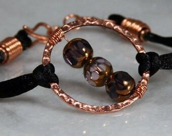 Copper Bracelet, Black Satin Cord Bracelet, Purple Glass Bracelet, Brown Bead Jewelry