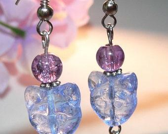 Blue Cat Earrings, Glass Flower Earrings, Dangle Earrings, Drop Earrings, Young Girl Gift