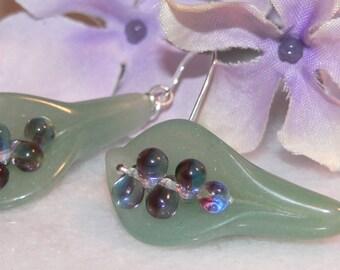 Green Earrings, Aventurine Earrings, Lily Glass Earrings, Tear Drops Dangle