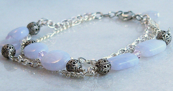 Agate Stone Bracelet Silver Chain Swarovski Lavender Gunmetal Bead Jewelry 1172