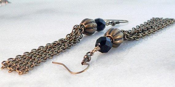 Antique Brass Long Tassel Fringe Earrings Black Glass Bead 1184