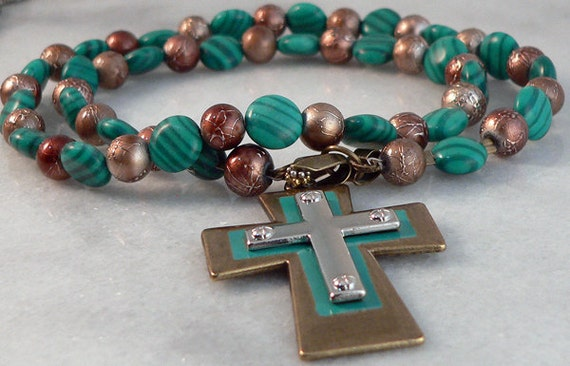Green Gold Resin Beaded Necklace Antique Gold Cross Imitation Malachite  1207